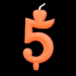Narancssárga számgyertya - 5