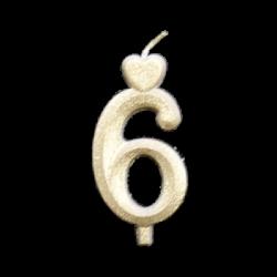 Arany számgyertya - 6